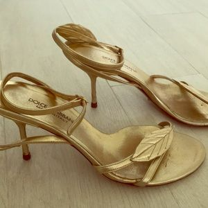 Dolce and Gabbana gold leave ankle strap sandals